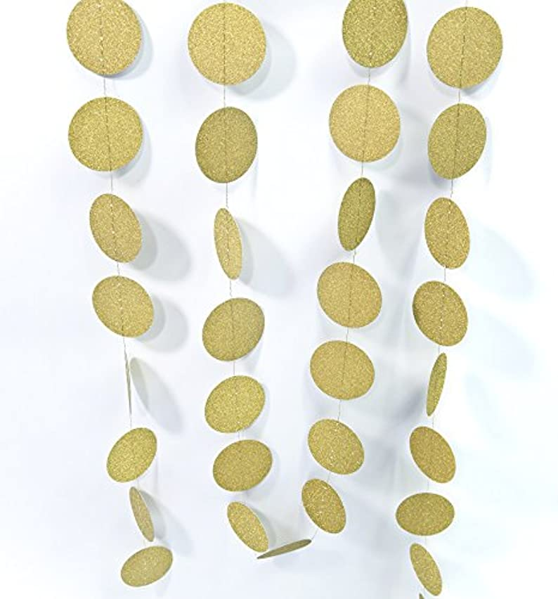 ALL in ONE Glitter Paper Garland Backdrop for Wedding Party Holiday Event Decoration (Gold Dot-2pack)