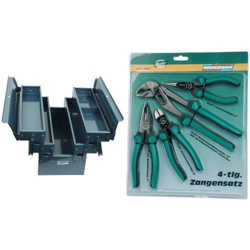 Mannesman 211-430 - Caja Herramientas Metalica 430X200X200 + M10997 - Juego de alicates de 4 piezas.
