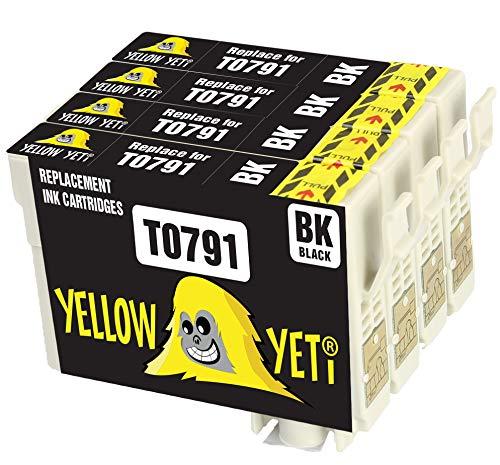 Yellow Yeti Ersatz für Epson T0791 Druckerpatronen Schwarz kompatibel für Epson Stylus Photo 1500W 1400 P50 PX720WD PX700W PX800FW PX810FW PX820FWD PX830FWD PX650 PX660 PX710W PX730WD