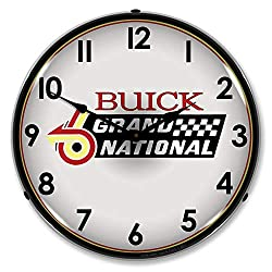 Buick Grand National Logo LED Wall Clock, Retro/Vintage, Lighted, 14 inch