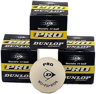Dunlop White Pro Squash Ball - 3 Balls