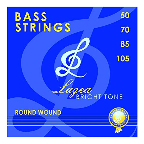 Bass Strings - Electric Bass Guitar Strings - Lazea Bright Tone - Nickel Alloy - Round Wound - 4 Strings - .050 - .105