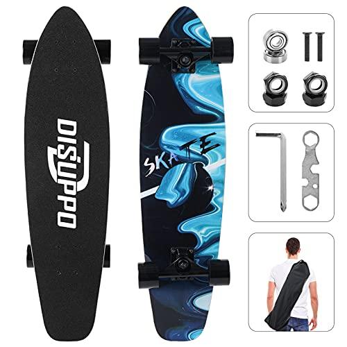 DISUPPO Cruiser Skateboards, Komplett-Skateboard für Anfänger Teens Erwachsene, 7 Lagen Maple Double Kick Concave Standard und Tricks Skateboards, 79×21cm (Traumwellen)