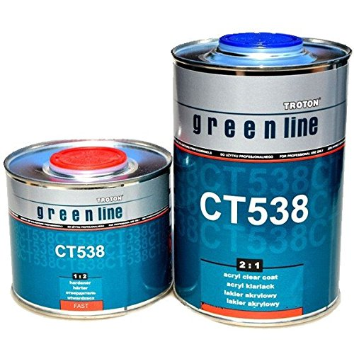 Troton MS KLARLACK 1L CT538 Green Line Acryl 2:1 Kratzfest 2K Lack + HÄRTER 0,5L