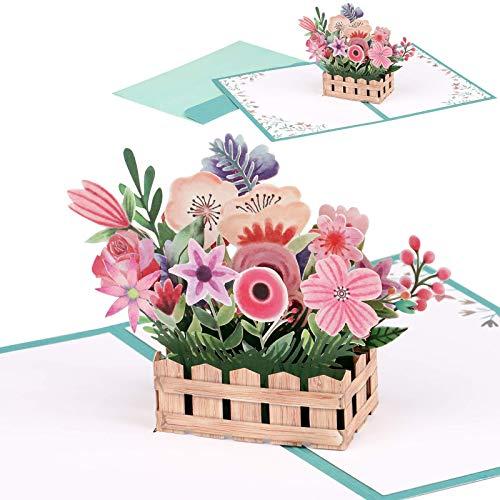 Giiffu - Biglietto pop-up in 3D con cesto di fiori, fatto a mano, per tutte le occasioni, festa della mamma, San Valentino, compleanno, matrimonio, anniversario