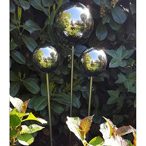 garten-wohnambiente Beetstecker Rosenkugel, 10 cm, Edelstahl/poliert, Rosenstab 80 cm 10 cm