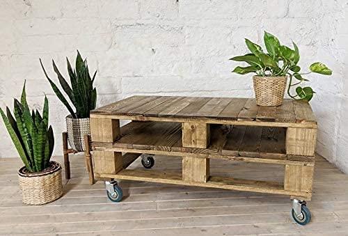 Mesa de palets para Jardin - Terraza, Patio, Salón, Interiores, Exteriores - Muebles con palets de Madera, Mobiliario Rustico (Nogal Claro, 90 x 50 x 35)