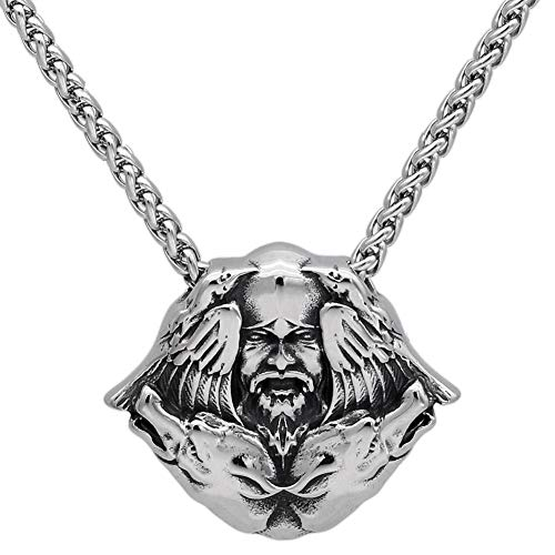 Nordic Viking Odin Crow Celtic Wolf Totem Pendant Necklace,Men Stainless Steel Raven Fenrir Scandinavian Amulet,Fashion Gothic Animal Protection Jewelry