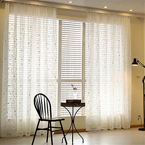 FACWAWF Cortinas De Pantalla De Ventana Blancas Bordadas Modernas para El Hogar para Sala De Estar Dormitorio Estudio Semi-Sombreado Cortinas Anti-Ultravioleta 350x270cm(2pcs)