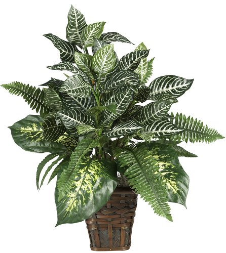 Nearly Natural 6528 Greens Zebra with Wicker Decorative Silk Plant, Green