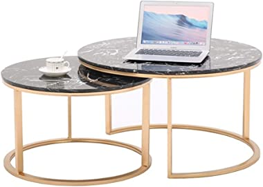 Marble Nesting End Tables, Black and Gold, Set of 2,Furniture Coffee Tables for Small Space/Apartment/Home Living Room