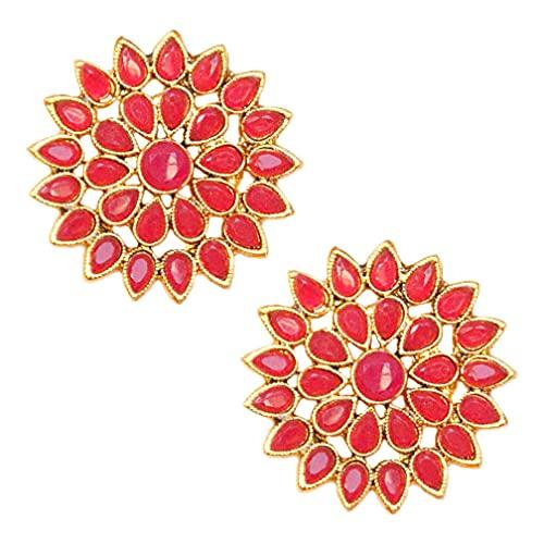 Pahal - Pendientes redondos de oro con diseño floral de Kundan, color rosa