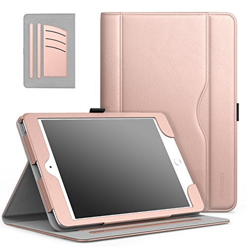 MoKo Case Fit iPad Mini 3/2/1, Slim Folding Stand Folio Cover Case Compatible with iPad Mini 1/Mini 2/Mini 3, with Auto Wake/Sleep and Document Card Slots, Multiple Viewing Angles, Rose Gold