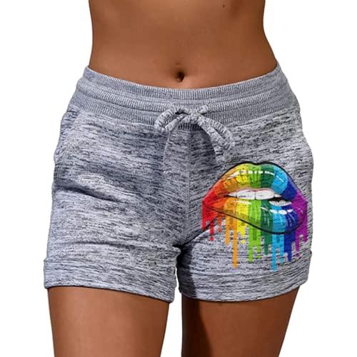 Mujeres Personalidad Impreso Pantalones Cortos Deportivos Moda Elástico Cintura Ocio, Gris, XL