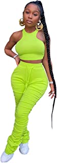 Women's Solid 2 Piece Workout Outfit High Waist Stacked Leggings with Crop Top Yoga Sport Suits Sweatsuit