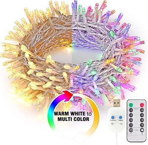 Cadena de luces LED de 11 m con interruptor, mando a distancia y temporizador, 8 modos de intensidad regulable y resistente al agua, para interiores, Navidad, habitación de los niños, fiestas, bodas