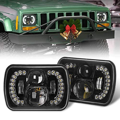 COWONE [DOT 120W Cree] 5x7 7x6 Led Headlights 2020 Newest High Low Beam Headlamps Compatible with Jeep Wrangler YJ Cherokee XJ H6054 H5054 6054 6052- Pair