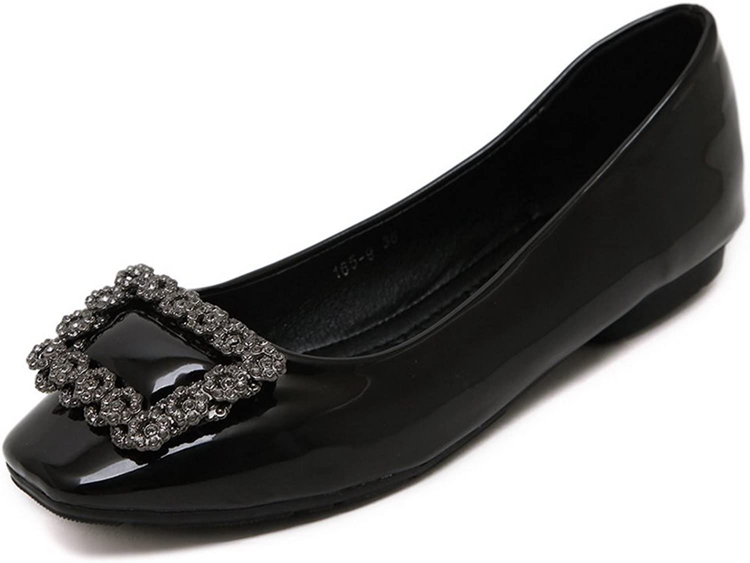 AdeeSu Womens Rhinestones Square-Toe Low-Cut Uppers Urethane Flats shoes