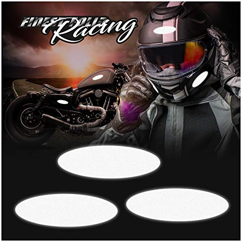 8er Set reflektierende Aufkleber Helmaufkleber 3M Technology™ Schwarz Motorradhelm Sicherheit (K133 Oval Reflektierend)