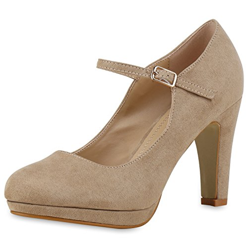 SCARPE VITA Damen Pumps Mary Janes Blockabsatz High Heels T-Strap 160320 Creme Velours 40