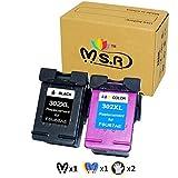 MSR Cartouches d'encre remanufacturées HP 302 302XL Compatible HP DeskJet 3630 2130 2132 1110 3632...