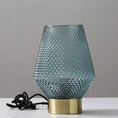 KK Zachary Raumdekoration Nordic Minimalistischen Glas Messing Tischlampe Schreibtisch Verzierungen Nach Hause Raum TV Glasprodukte Kabinett Eingang Wohnzimmer (Color : Blue)
