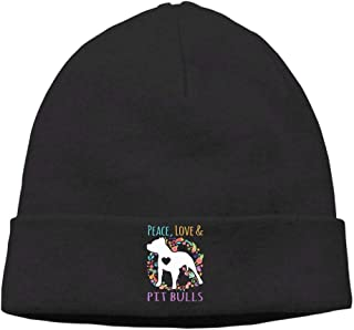 Thick Knitting Hat for Mens and Womens, Peace Love and Pit Bulls Watch Cap