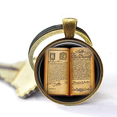 Llavero de libro abierto antiguo, llavero de regalo para escritor, regalo para lector – joyería de libro vintage – llavero de páginas de libro – la vida es un llavero abierto
