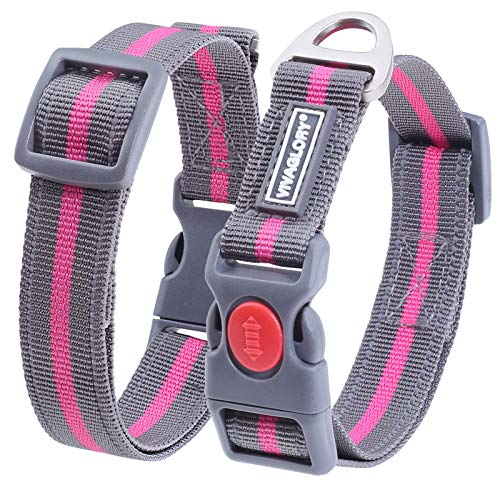 Vivaglory Dog Collar with Safety Locking Buckle, Reflective & Adjustable Nylon Collar for Small Medium Dogs, Grey/Pink