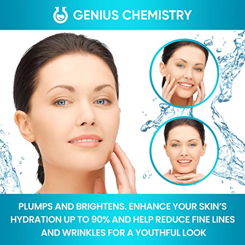 51QHUQiBdPL - GENIUS Hyaluronic Acid Serum 8OZ, Pure Organic HA, Anti Aging, Anti Wrinkle, The Smart Face Moisturizer for Dry Skin and Fine Lines, Leaves Skin Full and Plump, Pump Bottle by Genius Chemistry