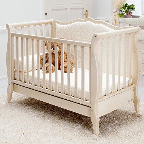 Besonderes Babybett 63x123 | Umbaubett mit gepolsterter Rücklehne Rinascimento antikweiß - erweiterbar zur Couch