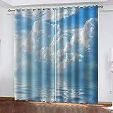 TTBBBB Opacas Cortinas Dormitorio Impresión de Cielo Azul y...