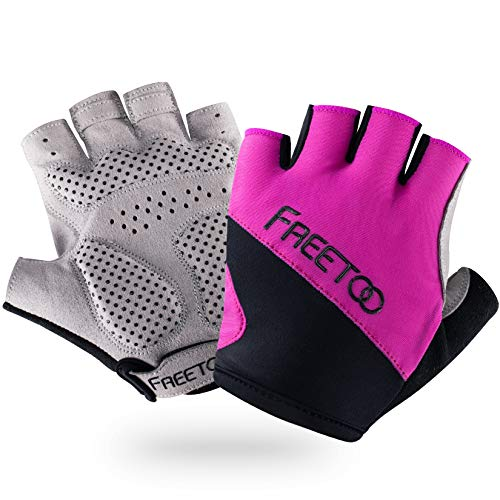 FREETOO Palm Protection Gym Gloves with 4MM SBR Padding for Women Non-Slip Silicone Dotted Fitness Gloves Breathable Exercise Gloves for Workout Training/Crossfit/Deadlift/Gymnastic/Pull Ups