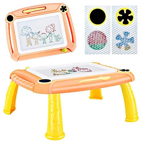 DUTISON Ardoise Magique Enfant Tableau De Dessin Magnétique Coloré à Multicolore Grand Format lanche à Dessin Effaçable Aimant pour Bébés Loisir Créatif Jouet Educatif (Orange)