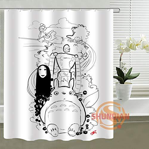 WENHUI Anime Spirited Away Prinzessin Mononoke Duschvorhang Personalisierte benutzerdefinierte Bad Vorhang Wasserdichter Polyester Vorhang für die Familie