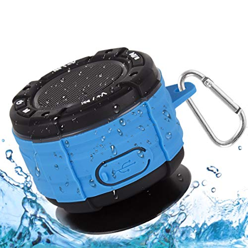 Altavoz Bluetooth, IPX7 Impermeable Altavoz de Ducha Bluetooth Inalámbrico Portátil con FM Radio HD Deep Bass Speaker para Baño Piscina Playa Outdoor