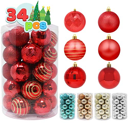 Joiedomi 34 Pcs Christmas Ball Ornaments, Shatterproof Christmas Ornaments for Holidays, Party Decoration, Tree Ornaments, and Special Events (Red, 2.36')