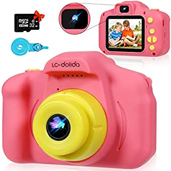LC-dolida 1080P Rechargeable 32G SD Card Kids HD Camera