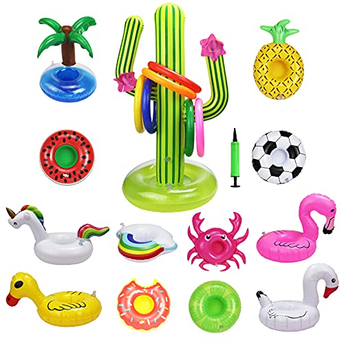 Product Image of the Halovin 12 Pack Inflatable Drink Holders + Inflatable Cactus Drink Holder Float...