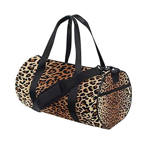Bolsa de deporte para gimnasio, con estampado de leopardo, con compartimento para zapatos y bolsillo húmedo para mujeres o hombres