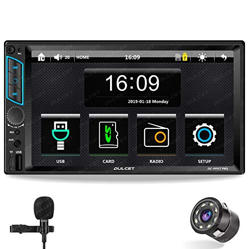 DULCET DC-9911T PRO 240W Universal Fit Double Din 7 inch Touch Screen Car Stereo with HD Display / Capacitive Touch Screen / External Microphone & Remote Control it supports Bluetooth / USB / FM / AUX / SD Card / Android & iOS Screen Mirroring (Also, Includes an 8 LED Night Vision Car Rear View Parking Camera)