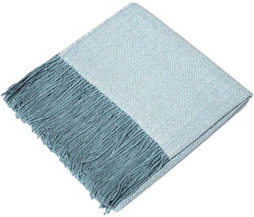 Lorenzo Cana Alpakadecke 100prozent Alpaka - Fair Trade Decke - Wohndecke handgewebt Sofadecke Tagesdecke Kuscheldecke hellblau 9603377