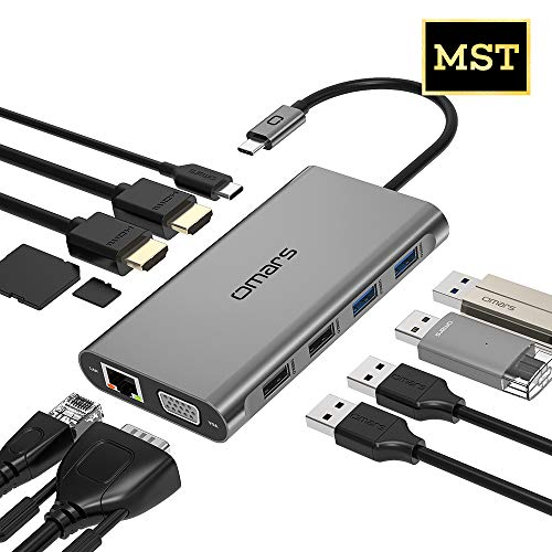 Omars USB C Hub, Docking Station Typ-C Multiport Adapter 11-in-1, Dual 4K HDMI Triple Display, Ethernet, VGA, 4 USB-Anschlüssen, SD/TF Kartenleser, 100W PD für MacBook/Pro/Air, iPad, Typ-C Laptops