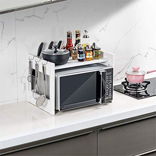 BGROESTWB Rack Micro-Ondes Four Micro-Ondes Plateau de Bureau Countertop Rice Cooker Double Support de Rangement Cuisine Rack Espace Aluminium Cuisine de Stockage (Color : White, Size : One Size)
