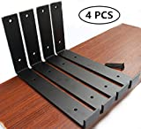 4 Pack - 9.25'L x 6'H x 1.5'W J Lip Shelf Bracket Rustic Industrial Farmhouse Iron Metal Wall Floating Shelf Bracket Metal Shelf Bracket, Industrial Shelf Bracket, Shelf Supports with Screws