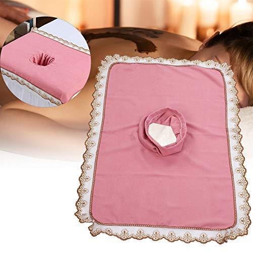 Spa-massagetafel-voorblad, massagebed-hoes met gat Massage-hoeslaken SPA-behandelingsbedovertrek voor schoonheidssalon Spa, elastische koordrand(Roze)