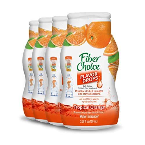 Fiber Choice Flavor Drops Liquid Prebiotic Fiber Supplement Tropical Orange Flavor 4 Pack