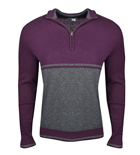 Calvin Klein Mens Colorblocked Quarter Zip Pullover Sweater, Purple, Small