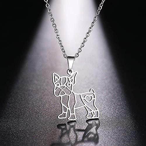 YQMR Colgante Collar para Mujer,Mujeres Colgante Collar Siolver Hueco Grabado Perro Animal Colgante Joyería De Moda Regalo para Mamá Cumpleaños Amistad Familia