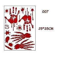 ハロウィン ウィンドウステッカ ホラー血の手作りの足跡指紋ハロウィーンステッカー壁窓の床の装飾ホラー血のステッカーのお化けハウスの装飾 (Color : 007)